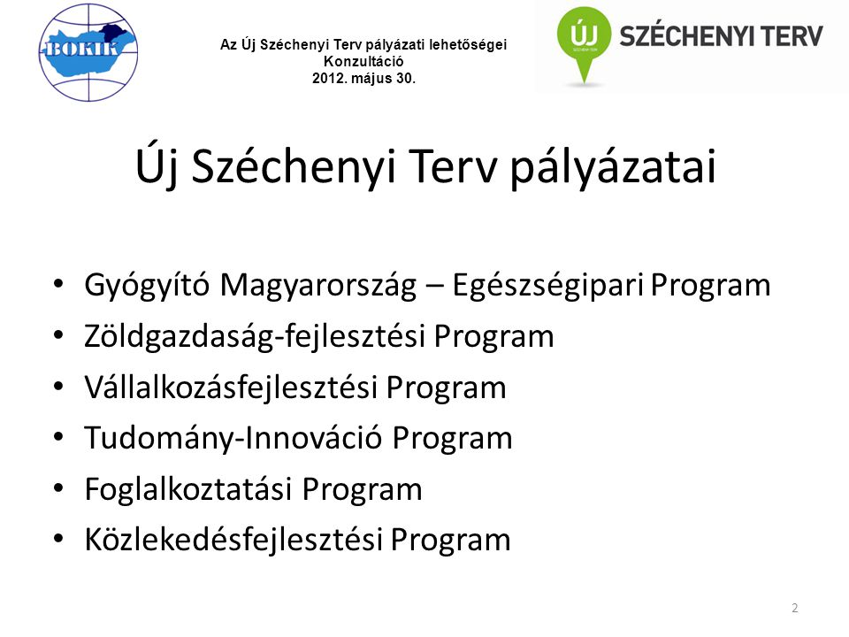 Új Széchenyi Terv pályázatai Gyógyító Magyarország – Egészségipari Program Zöldgazdaság-fejlesztési Program Vállalkozásfejlesztési Program Tudomány-In