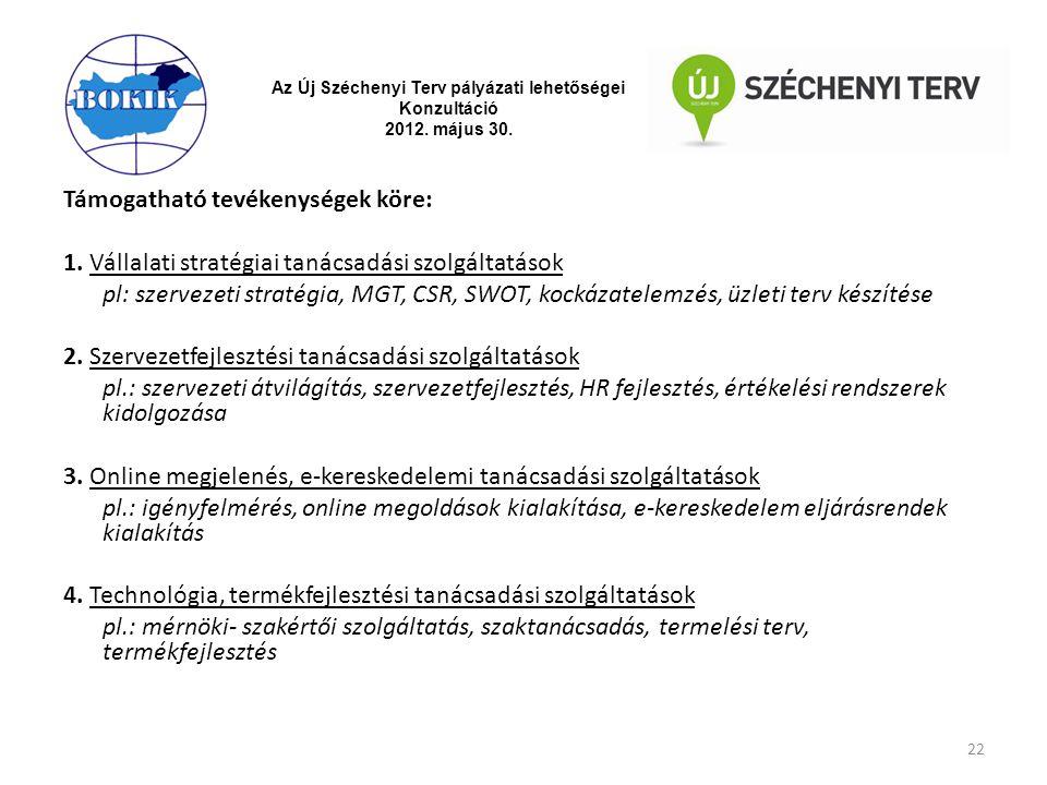 Az Új Széchenyi Terv pályázati lehetőségei Konzultáció 2012. május 30. Támogatható tevékenységek köre: 1. Vállalati stratégiai tanácsadási szolgáltatá