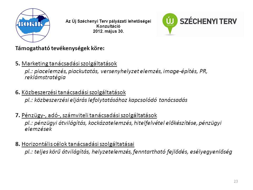 Az Új Széchenyi Terv pályázati lehetőségei Konzultáció 2012. május 30. Támogatható tevékenységek köre: 5. Marketing tanácsadási szolgáltatások pl.: pi