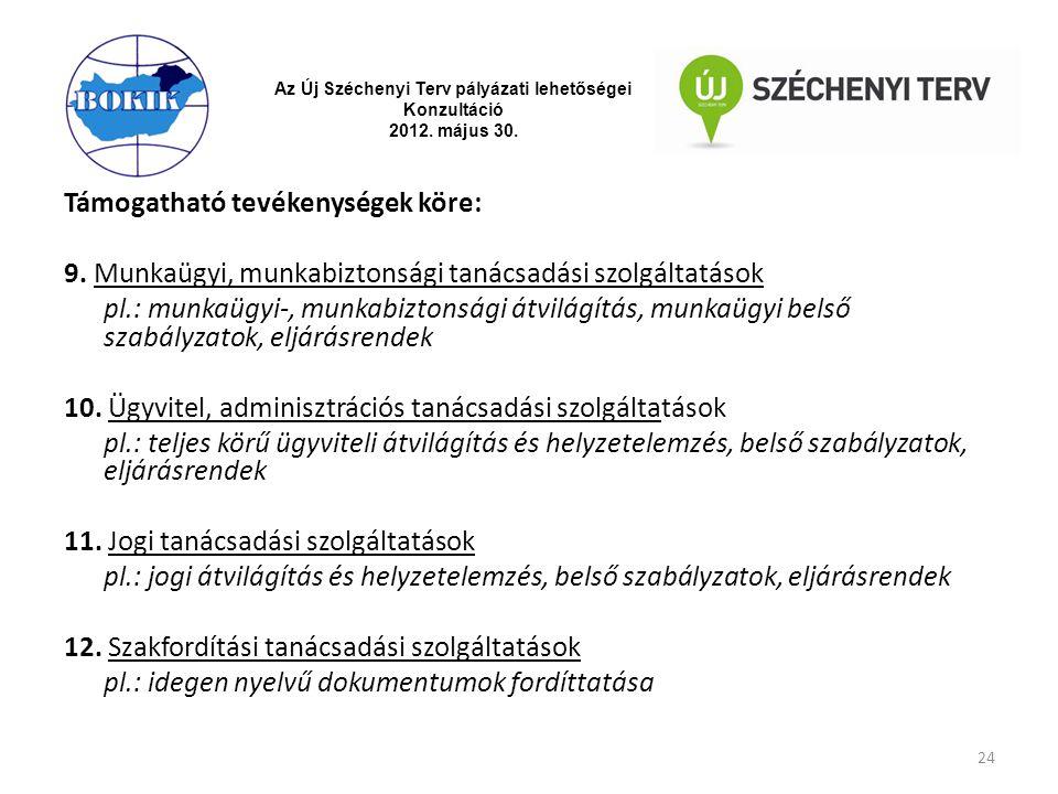 Az Új Széchenyi Terv pályázati lehetőségei Konzultáció 2012. május 30. Támogatható tevékenységek köre: 9. Munkaügyi, munkabiztonsági tanácsadási szolg