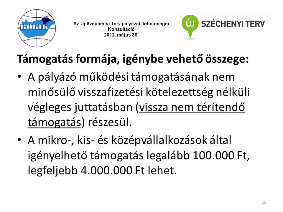 Az Új Széchenyi Terv pályázati lehetőségei Konzultáció 2012. május 30. Támogatás formája, igénybe vehető összege: A pályázó működési támogatásának nem