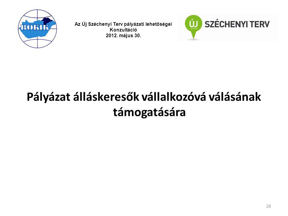 Az Új Széchenyi Terv pályázati lehetőségei Konzultáció 2012. május 30. Pályázat álláskeresők vállalkozóvá válásának támogatására 28