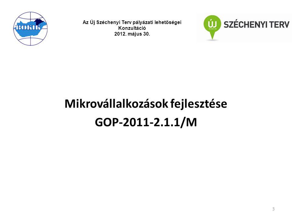 Pályázat célja: Vissza nem térítendő támogatás és kedvezményes hitel együttes biztosítása révén segítse a mikrovállalkozásokat, hogy kis lépéssel fejlesszék vállalkozásukat technológiai fejlesztésen, korszerűsítésen keresztül 4 Az Új Széchenyi Terv pályázati lehetőségei Konzultáció 2012.