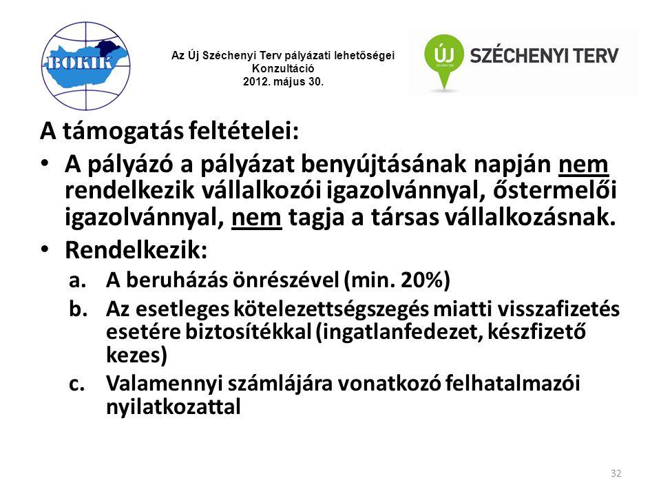Az Új Széchenyi Terv pályázati lehetőségei Konzultáció 2012. május 30. A támogatás feltételei: A pályázó a pályázat benyújtásának napján nem rendelkez