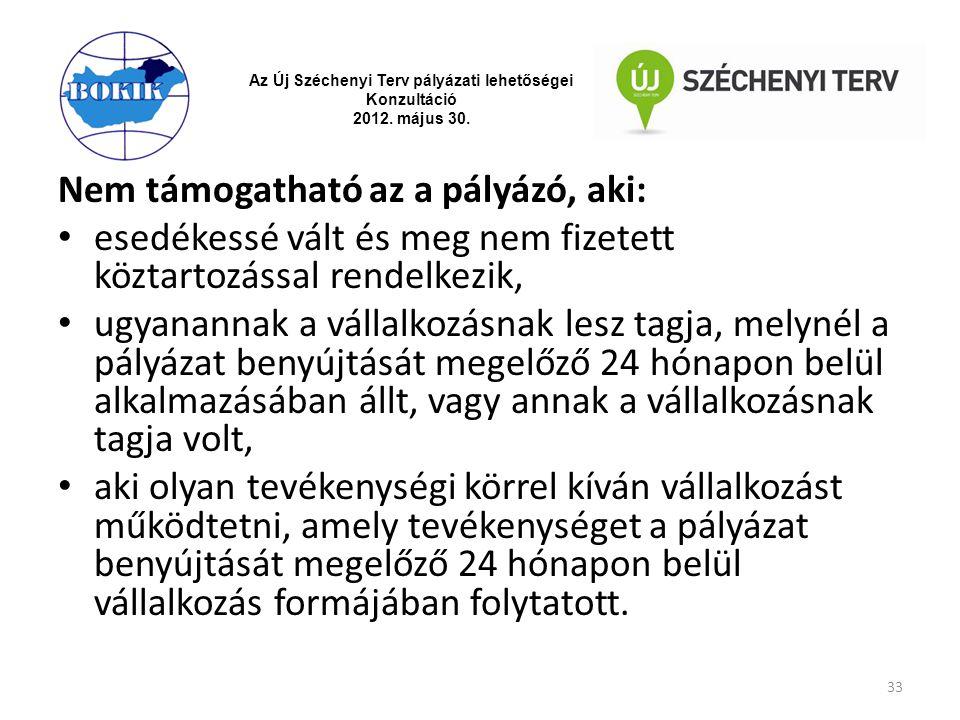 Az Új Széchenyi Terv pályázati lehetőségei Konzultáció 2012. május 30. Nem támogatható az a pályázó, aki: esedékessé vált és meg nem fizetett köztarto