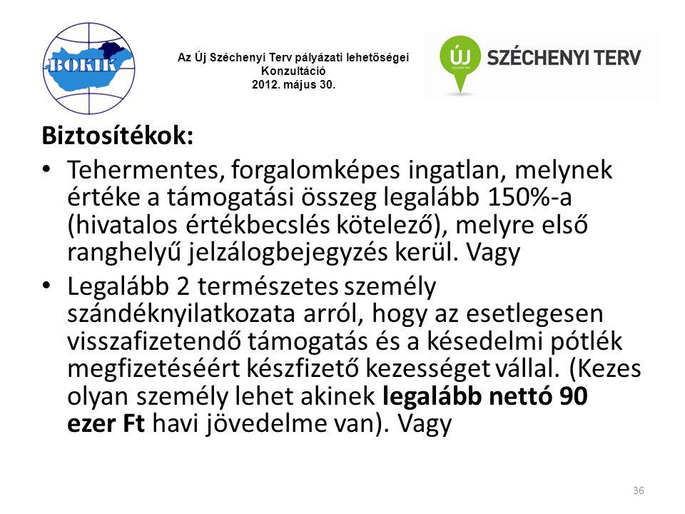 Az Új Széchenyi Terv pályázati lehetőségei Konzultáció 2012. május 30. Biztosítékok: Tehermentes, forgalomképes ingatlan, melynek értéke a támogatási