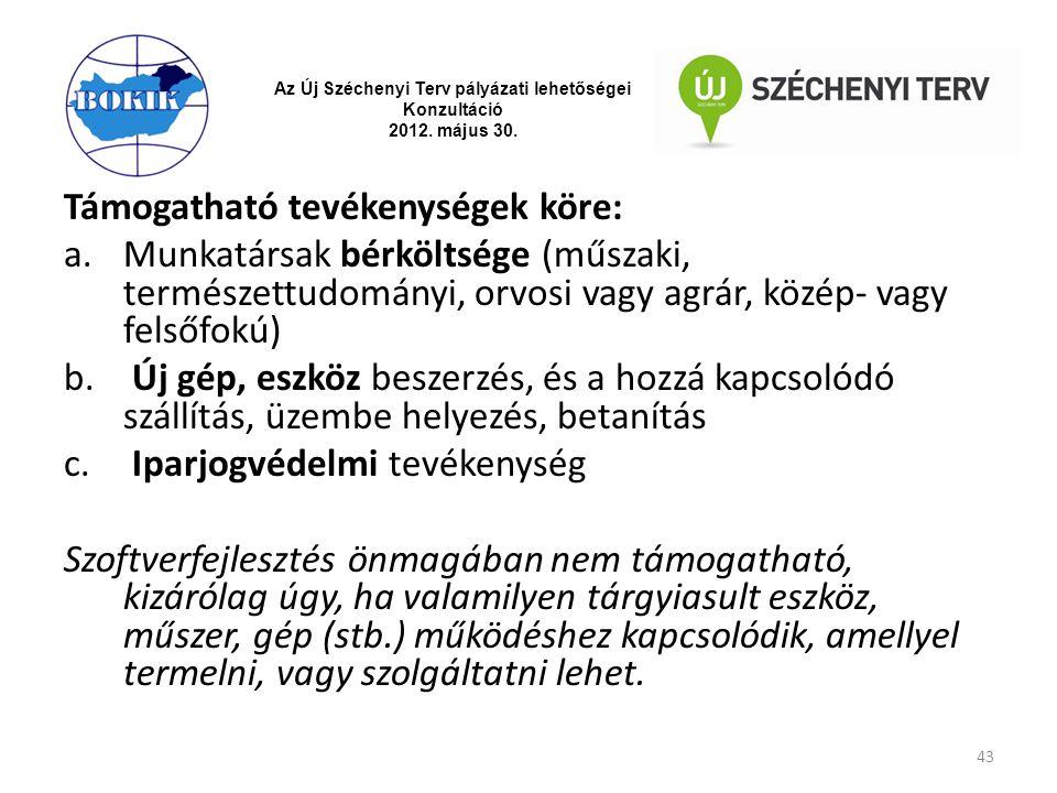 Az Új Széchenyi Terv pályázati lehetőségei Konzultáció 2012. május 30. Támogatható tevékenységek köre: a.Munkatársak bérköltsége (műszaki, természettu