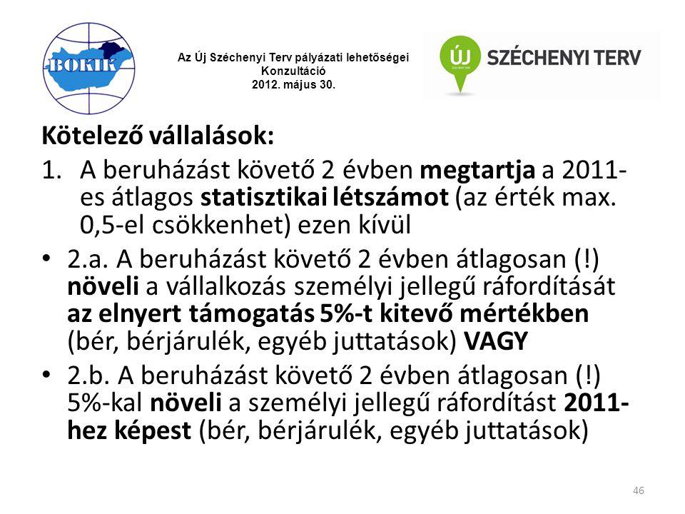 Az Új Széchenyi Terv pályázati lehetőségei Konzultáció 2012. május 30. Kötelező vállalások: 1.A beruházást követő 2 évben megtartja a 2011- es átlagos