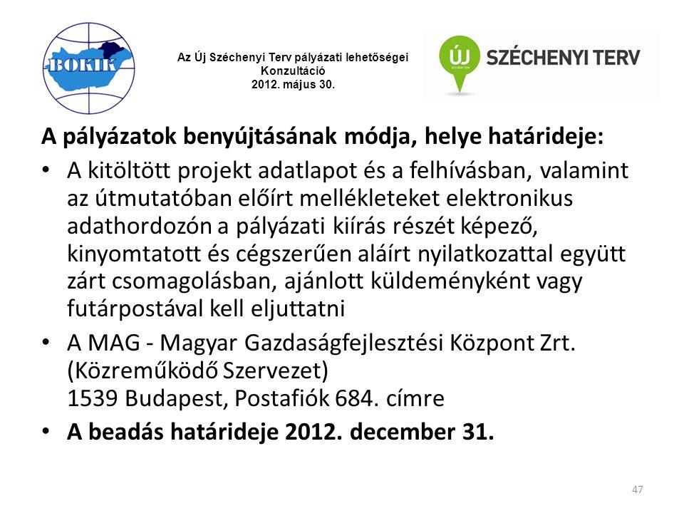 Az Új Széchenyi Terv pályázati lehetőségei Konzultáció 2012. május 30. A pályázatok benyújtásának módja, helye határideje: A kitöltött projekt adatlap