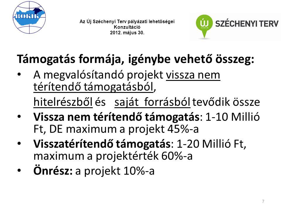 Támogatás formája, igénybe vehető összeg: A megvalósítandó projekt vissza nem térítendő támogatásból, hitelrészből és saját forrásból tevődik össze Vi