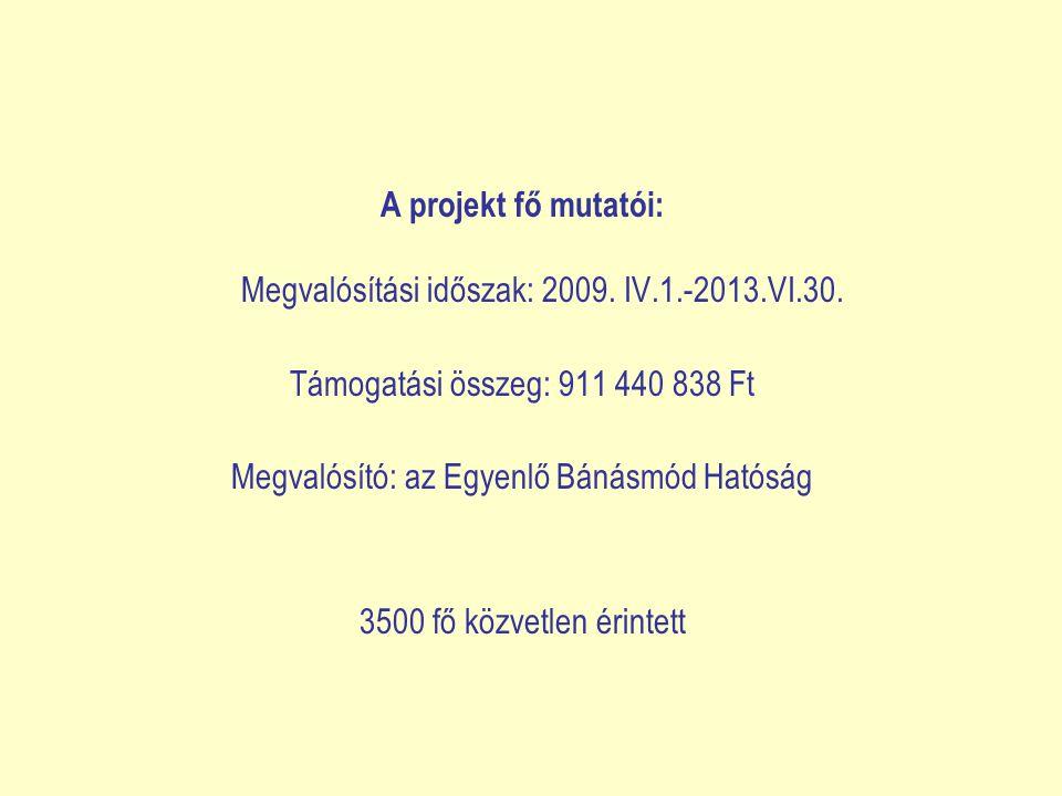 A projekt fő mutatói: Megvalósítási időszak: 2009.