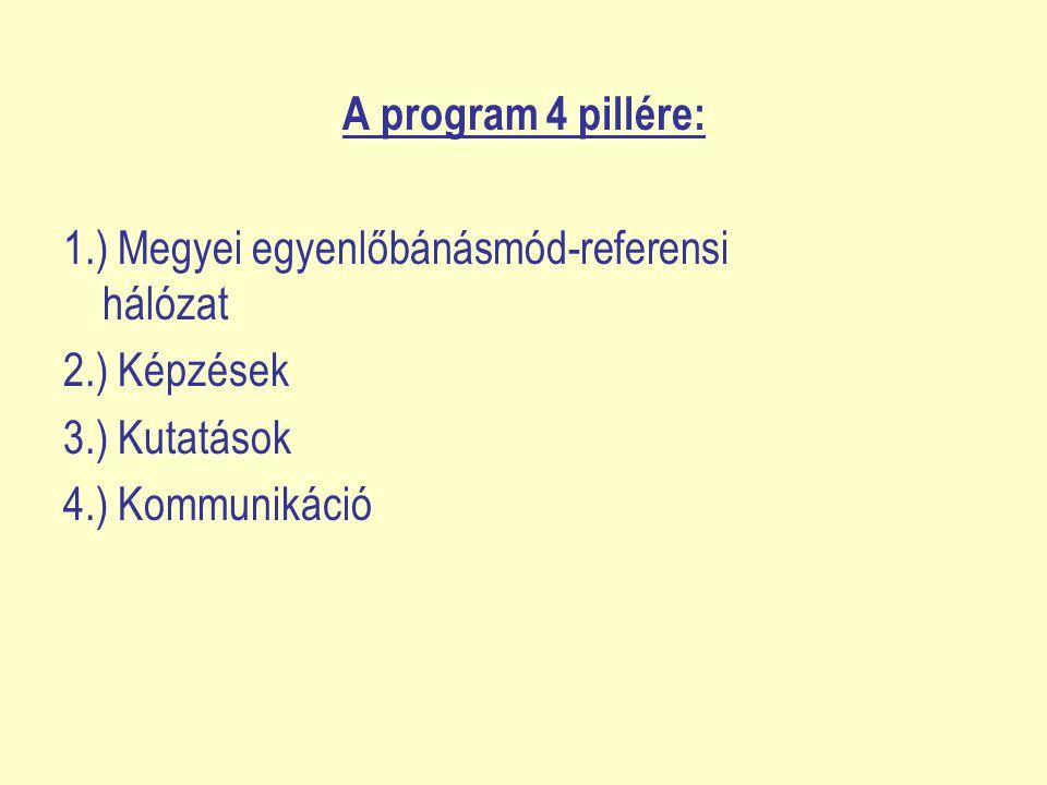 A program 4 pillére: 1.) Megyei egyenlőbánásmód-referensi hálózat 2.) Képzések 3.) Kutatások 4.) Kommunikáció