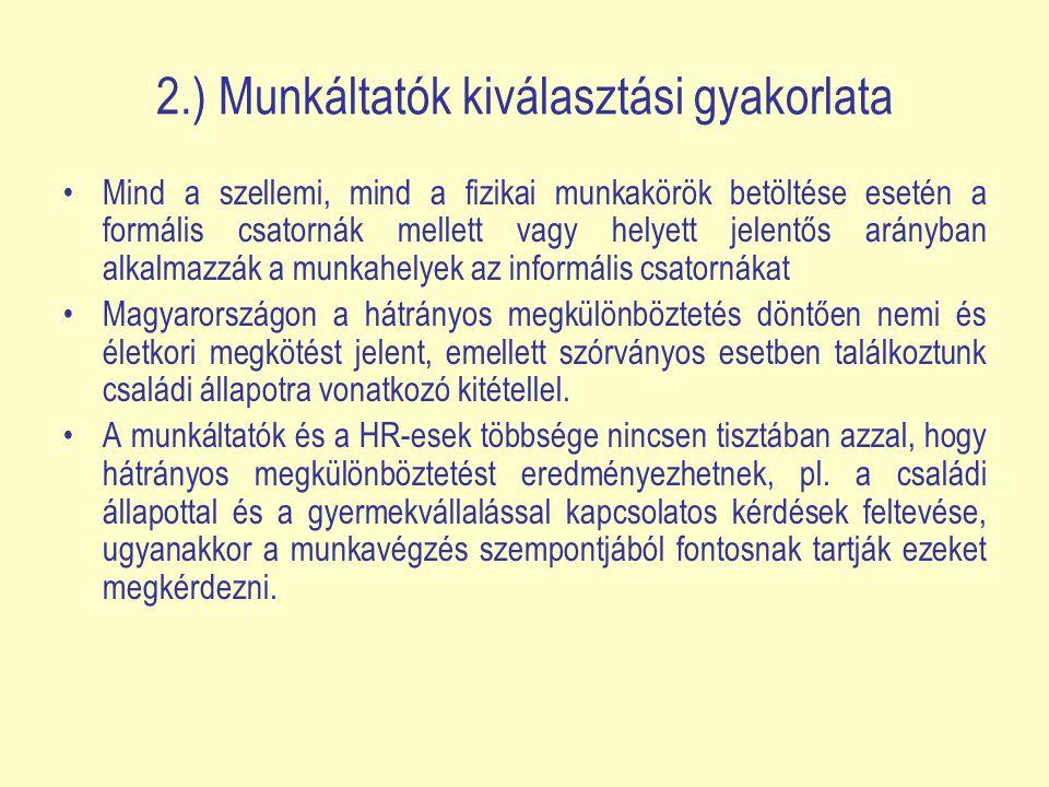 2.) Munkáltatók kiválasztási gyakorlata Mind a szellemi, mind a fizikai munkakörök betöltése esetén a formális csatornák mellett vagy helyett jelentős arányban alkalmazzák a munkahelyek az informális csatornákat Magyarországon a hátrányos megkülönböztetés döntően nemi és életkori megkötést jelent, emellett szórványos esetben találkoztunk családi állapotra vonatkozó kitétellel.