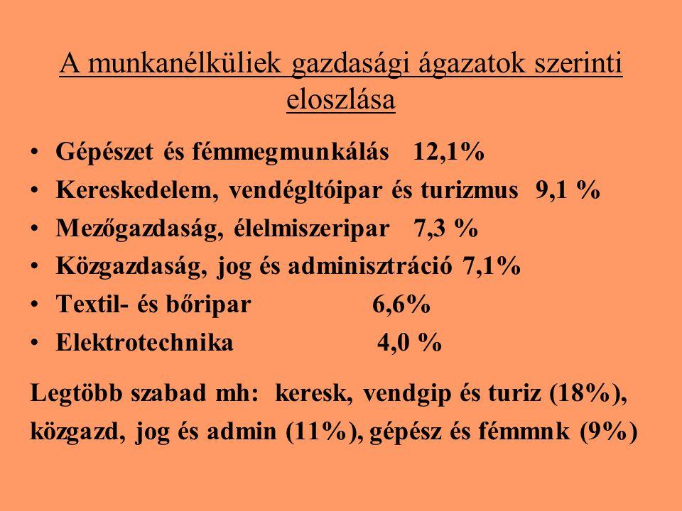 A munkanélküliek gazdasági ágazatok szerinti eloszlása Gépészet és fémmegmunkálás 12,1% Kereskedelem, vendégltóipar és turizmus 9,1 % Mezőgazdaság, élelmiszeripar 7,3 % Közgazdaság, jog és adminisztráció 7,1% Textil- és bőripar 6,6% Elektrotechnika 4,0 % Legtöbb szabad mh: keresk, vendgip és turiz (18%), közgazd, jog és admin (11%), gépész és fémmnk (9%)