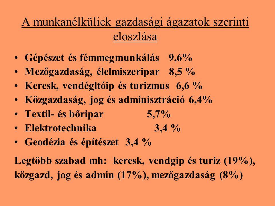 A munkanélküliek gazdasági ágazatok szerinti eloszlása Gépészet és fémmegmunkálás 9,6% Mezőgazdaság, élelmiszeripar 8,5 % Keresk, vendégltóip és turiz