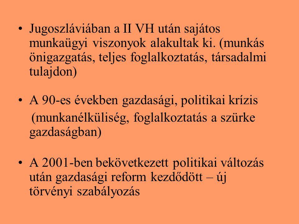 Jugoszláviában a II VH után sajátos munkaügyi viszonyok alakultak ki. (munkás önigazgatás, teljes foglalkoztatás, társadalmi tulajdon) A 90-es években