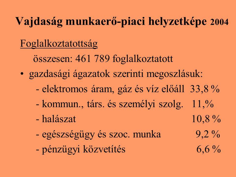 Vajdaság munkaerő-piaci helyzetképe 2004 Foglalkoztatottság összesen: 461 789 foglalkoztatott gazdasági ágazatok szerinti megoszlásuk: - elektromos áram, gáz és víz előáll 33,8 % - kommun., társ.