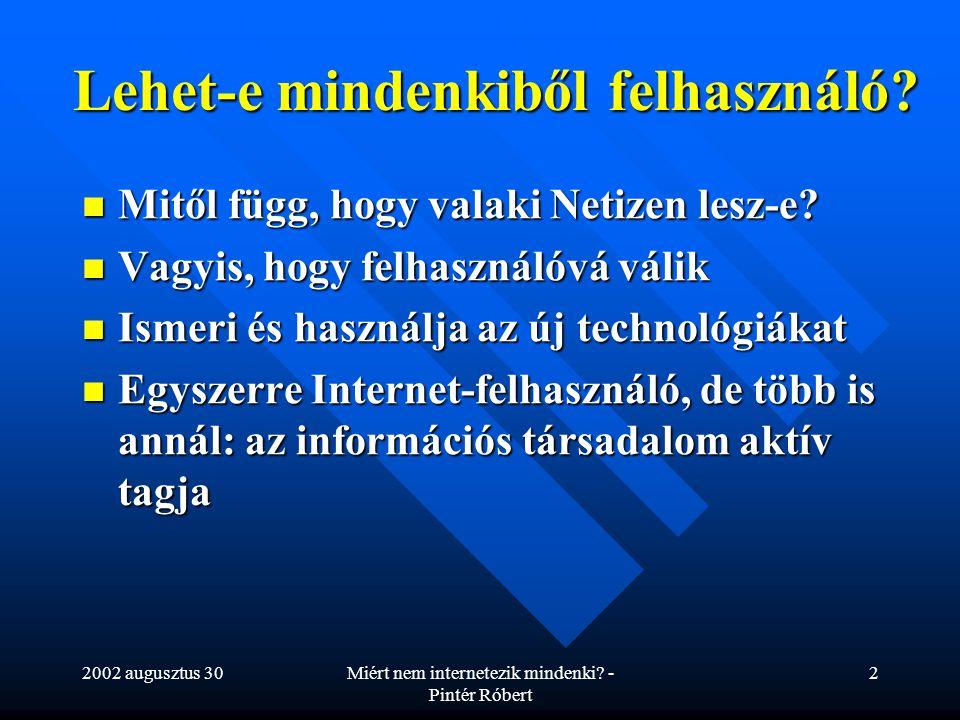 2002 augusztus 30Miért nem internetezik mindenki? - Pintér Róbert 2 Lehet-e mindenkiből felhasználó? Mitől függ, hogy valaki Netizen lesz-e? Mitől füg