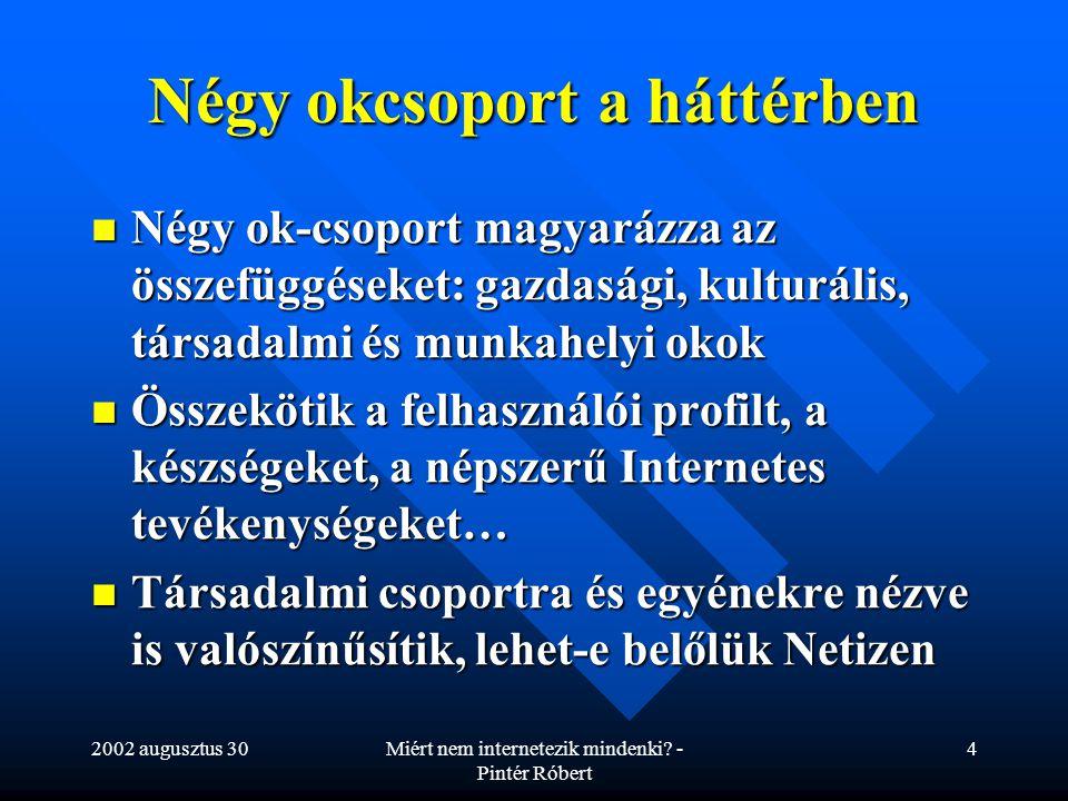 2002 augusztus 30Miért nem internetezik mindenki? - Pintér Róbert 4 Négy okcsoport a háttérben Négy ok-csoport magyarázza az összefüggéseket: gazdaság