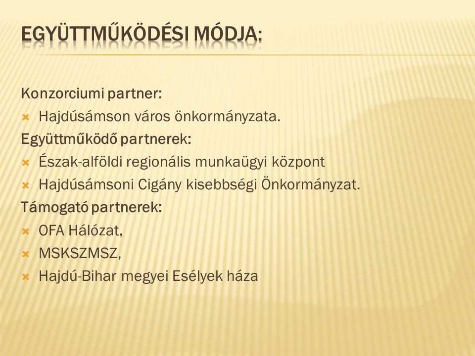 Konzorciumi partner:  Hajdúsámson város önkormányzata. Együttműködő partnerek:  Észak-alföldi regionális munkaügyi központ  Hajdúsámsoni Cigány kis