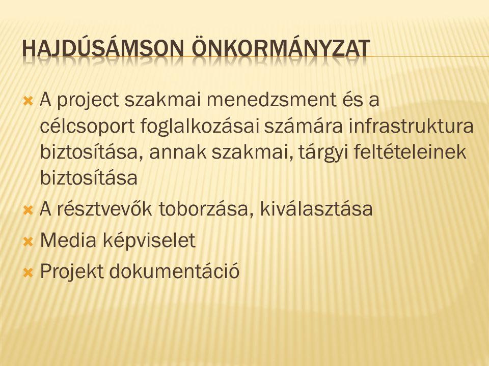  A project szakmai menedzsment és a célcsoport foglalkozásai számára infrastruktura biztosítása, annak szakmai, tárgyi feltételeinek biztosítása  A
