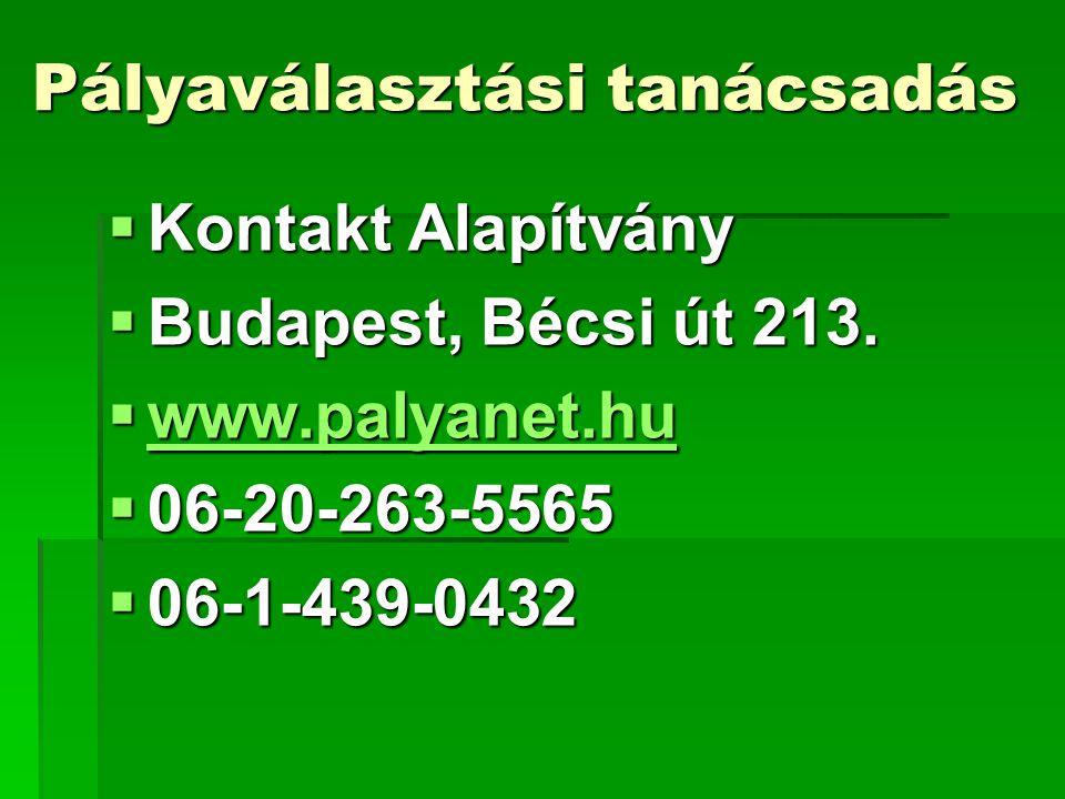 Pályaválasztási tanácsadás  Kontakt Alapítvány  Budapest, Bécsi út 213.