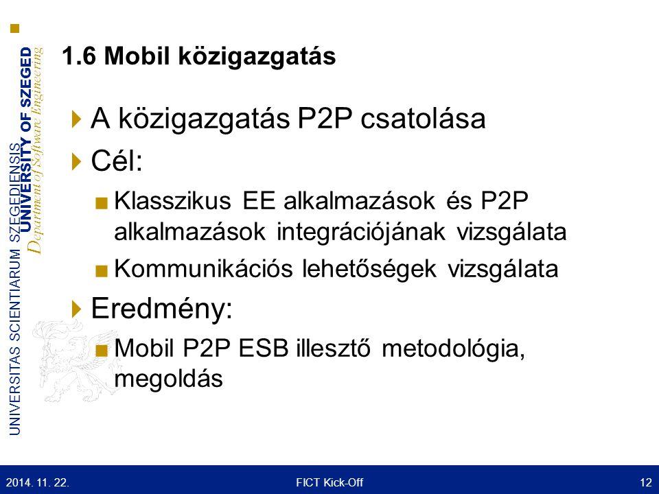 UNIVERSITY OF SZEGED D epartment of Software Engineering UNIVERSITAS SCIENTIARUM SZEGEDIENSIS 1.6 Mobil közigazgatás  A közigazgatás P2P csatolása 
