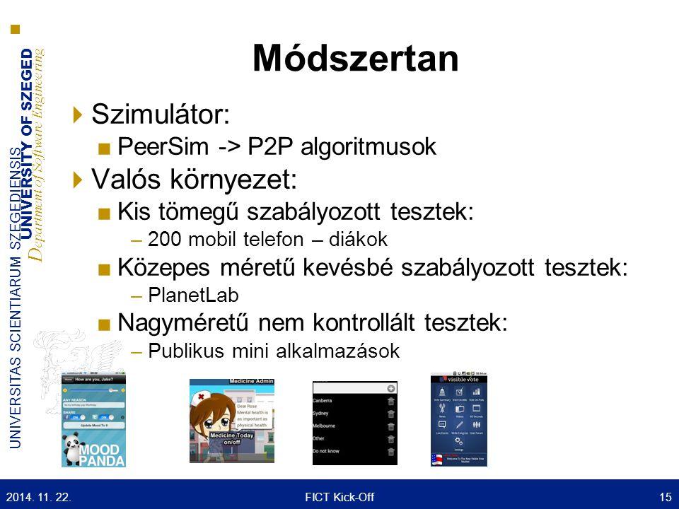 UNIVERSITY OF SZEGED D epartment of Software Engineering UNIVERSITAS SCIENTIARUM SZEGEDIENSIS Módszertan  Szimulátor: ■PeerSim -> P2P algoritmusok 