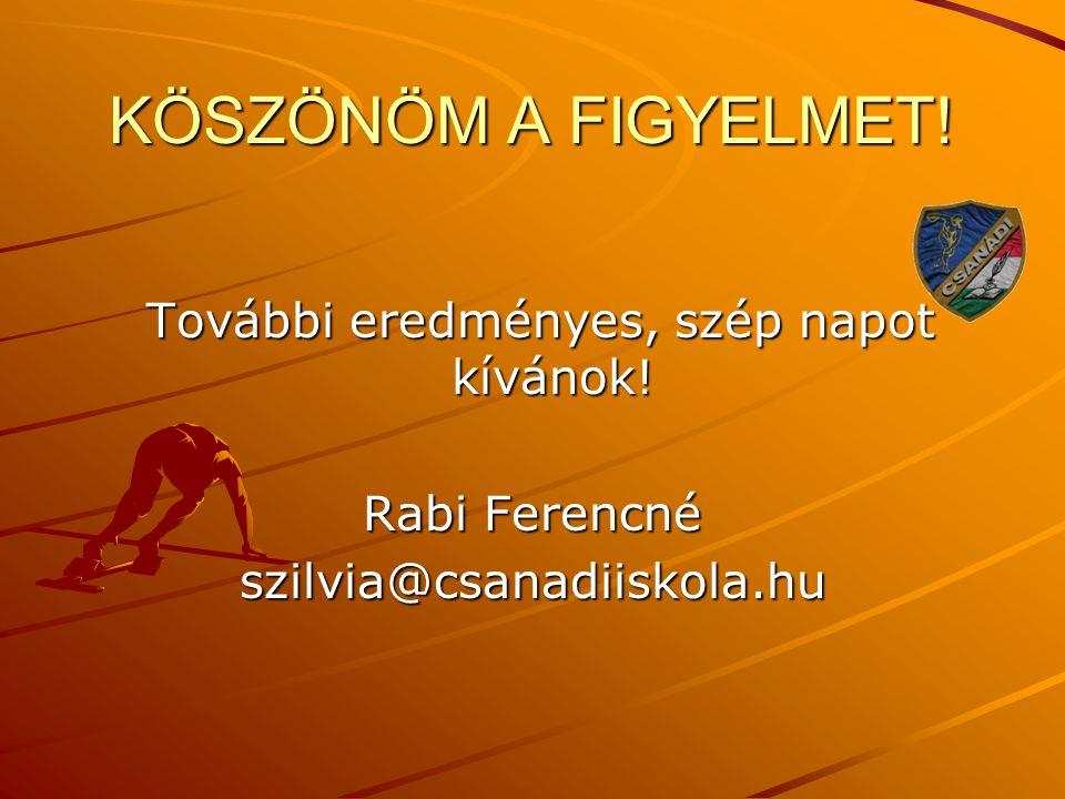 KÖSZÖNÖM A FIGYELMET! További eredményes, szép napot kívánok! További eredményes, szép napot kívánok! Rabi Ferencné szilvia@csanadiiskola.hu