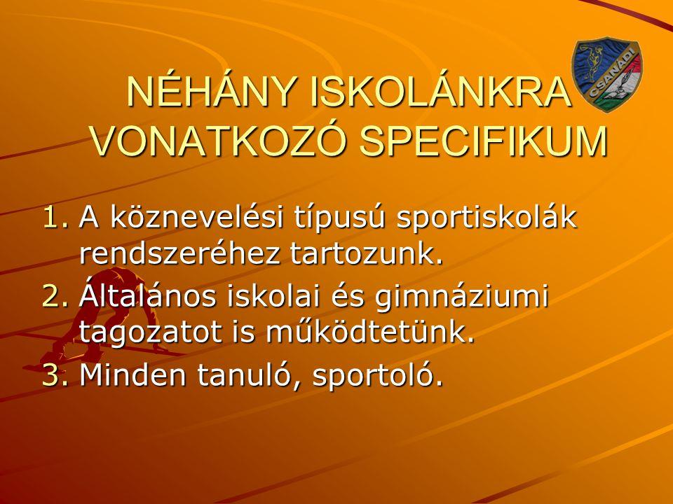 NÉHÁNY ISKOLÁNKRA VONATKOZÓ SPECIFIKUM 1.A köznevelési típusú sportiskolák rendszeréhez tartozunk. 2.Általános iskolai és gimnáziumi tagozatot is műkö