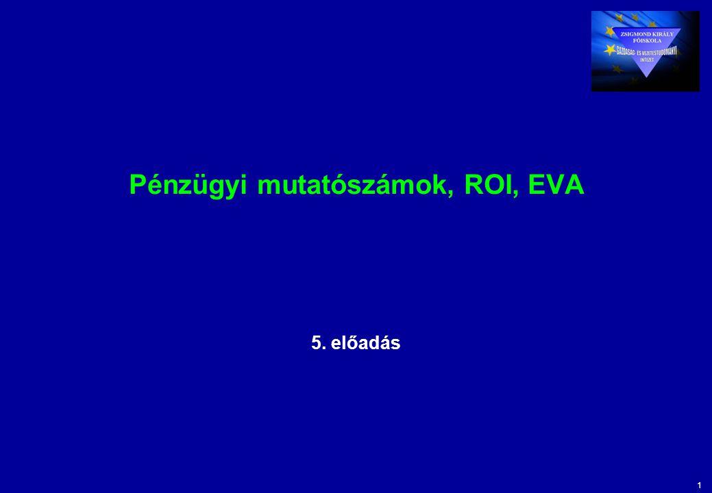 12 Üzenetek A számviteli ROI a befektetési központok tevékenységének leismertebb és legelterjedtebb hatékonysági mérőszáma.