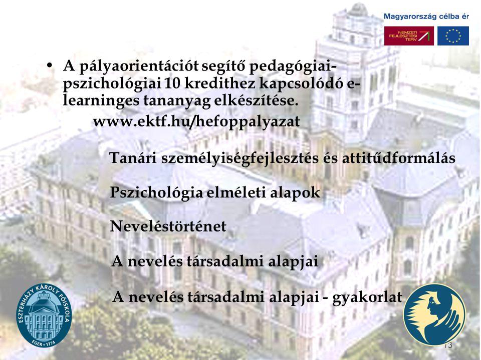 13 A pályaorientációt segítő pedagógiai- pszichológiai 10 kredithez kapcsolódó e- learninges tananyag elkészítése.