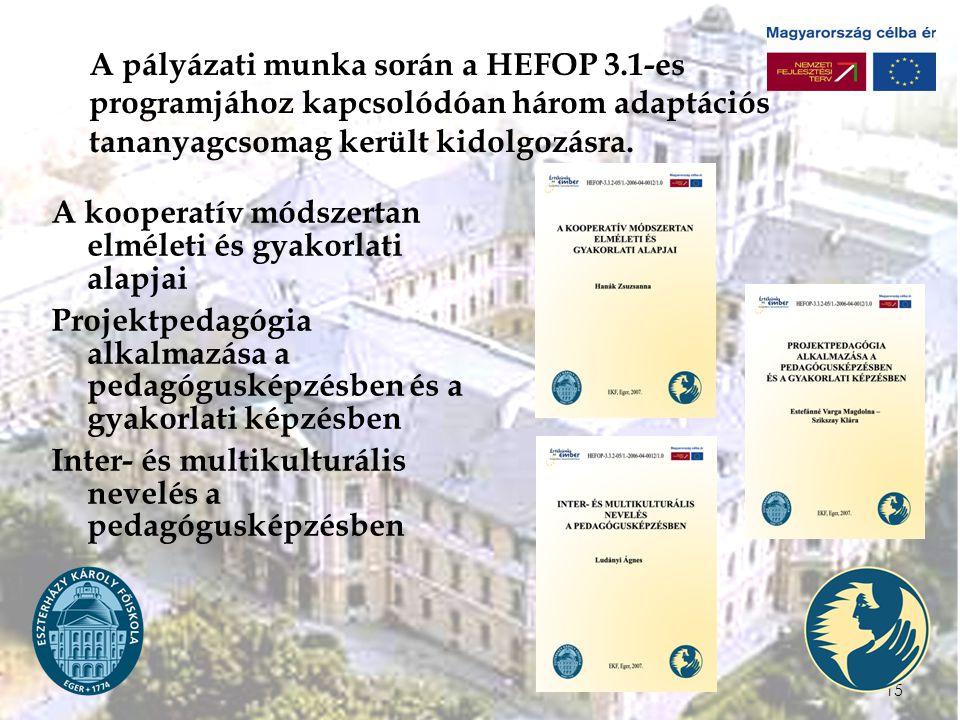 15 A pályázati munka során a HEFOP 3.1-es programjához kapcsolódóan három adaptációs tananyagcsomag került kidolgozásra.