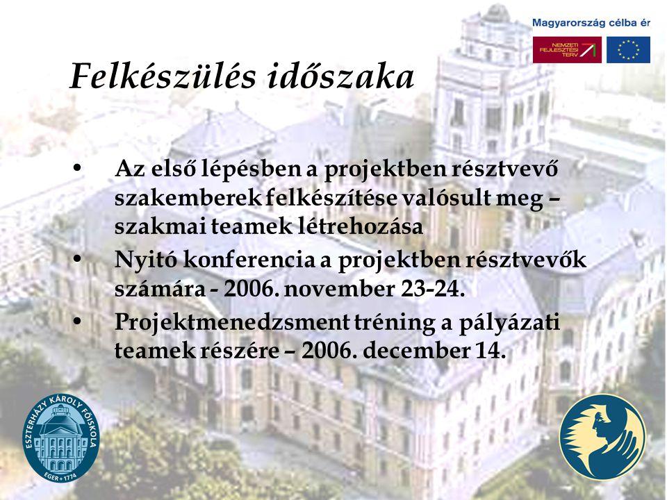 Felkészülés időszaka Az első lépésben a projektben résztvevő szakemberek felkészítése valósult meg – szakmai teamek létrehozása Nyitó konferencia a projektben résztvevők számára - 2006.
