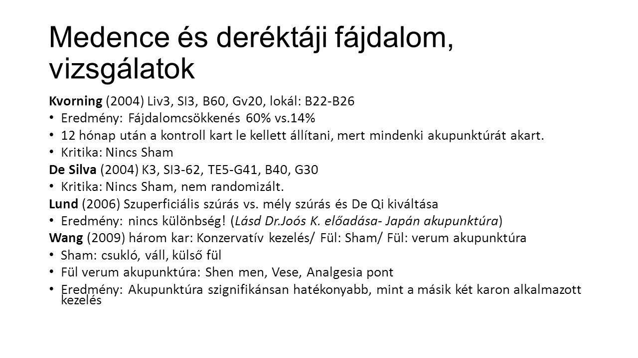 Medence és deréktáji fájdalom, vizsgálatok Kvorning (2004) Liv3, SI3, B60, Gv20, lokál: B22-B26 Eredmény: Fájdalomcsökkenés 60% vs.14% 12 hónap után a kontroll kart le kellett állítani, mert mindenki akupunktúrát akart.
