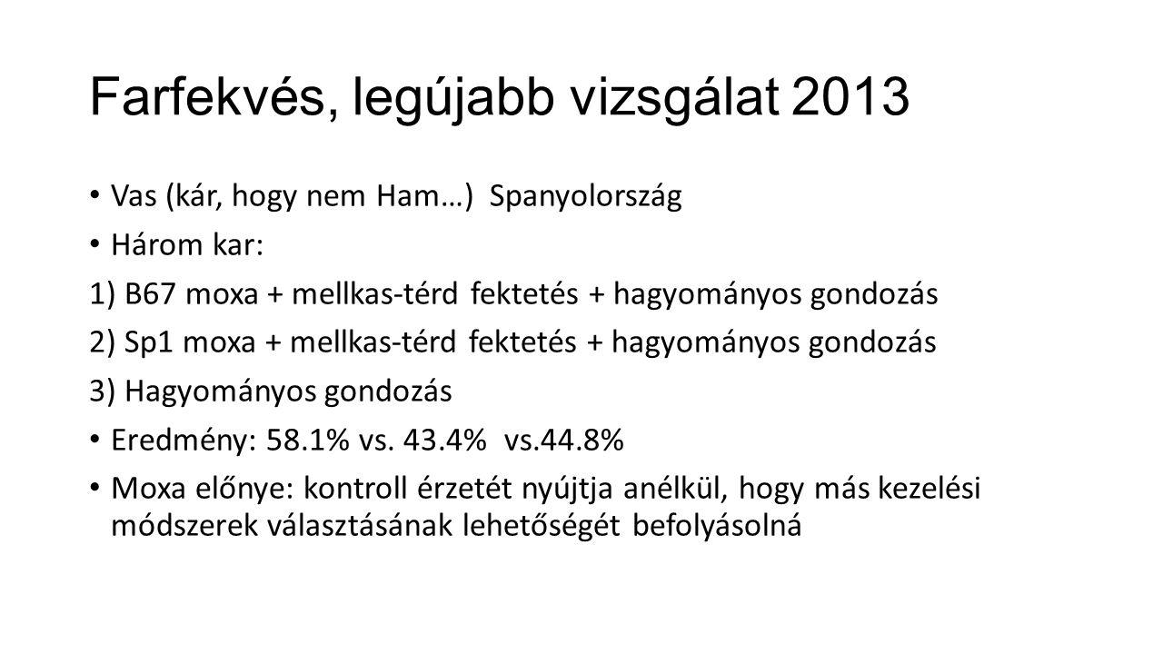 Farfekvés, legújabb vizsgálat 2013 Vas (kár, hogy nem Ham…) Spanyolország Három kar: 1) B67 moxa + mellkas-térd fektetés + hagyományos gondozás 2) Sp1 moxa + mellkas-térd fektetés + hagyományos gondozás 3) Hagyományos gondozás Eredmény: 58.1% vs.