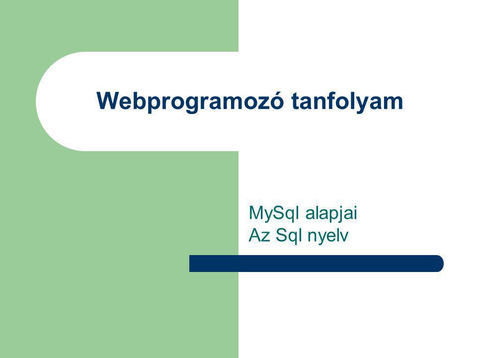 Webprogramozó tanfolyam MySql alapjai Az Sql nyelv