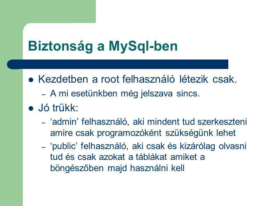 Biztonság a MySql-ben Kezdetben a root felhasználó létezik csak. – A mi esetünkben még jelszava sincs. Jó trükk: – 'admin' felhasználó, aki mindent tu