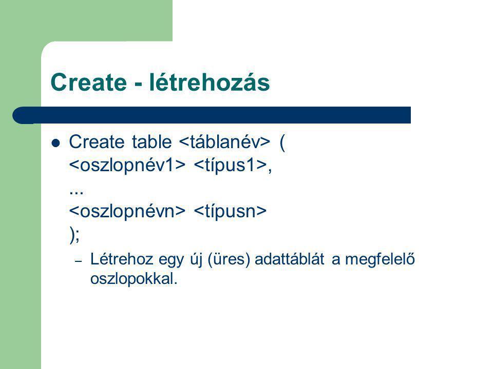 Create - létrehozás Create table (,... ); – Létrehoz egy új (üres) adattáblát a megfelelő oszlopokkal.