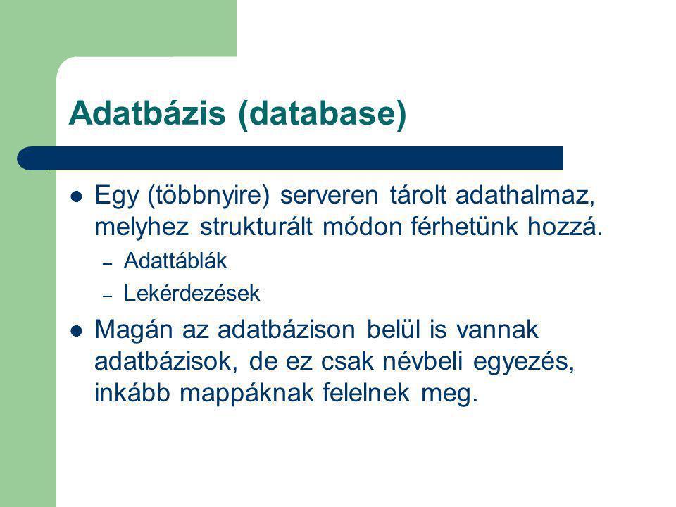 Adatbázis (database) Egy (többnyire) serveren tárolt adathalmaz, melyhez strukturált módon férhetünk hozzá. – Adattáblák – Lekérdezések Magán az adatb