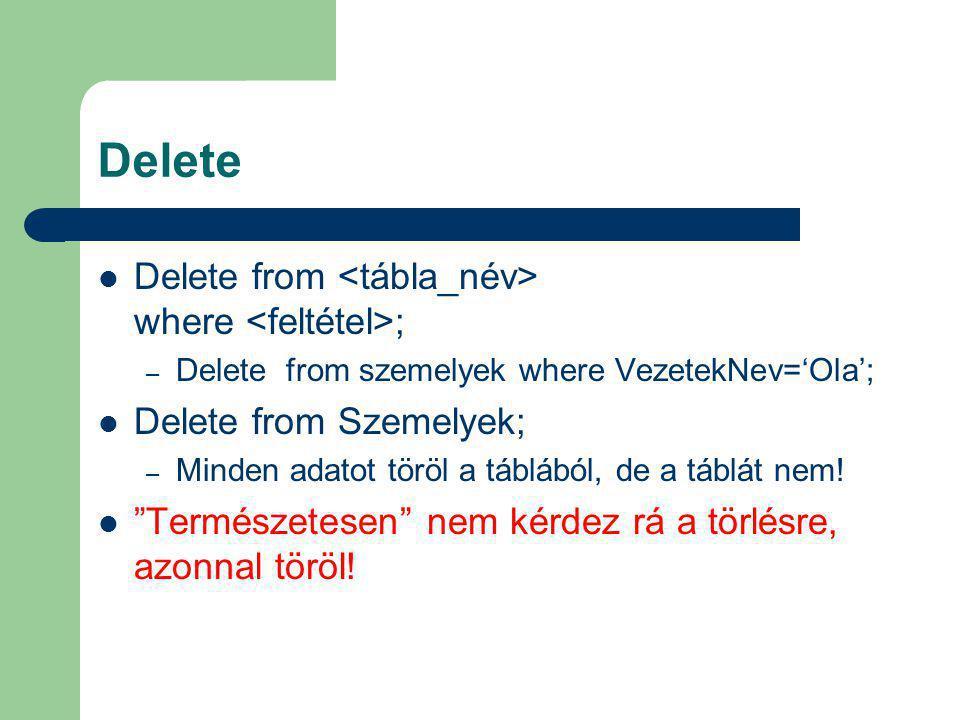 """Delete Delete from where ; – Delete from szemelyek where VezetekNev='Ola'; Delete from Szemelyek; – Minden adatot töröl a táblából, de a táblát nem! """""""