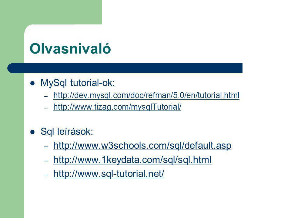 Olvasnivaló MySql tutorial-ok: – http://dev.mysql.com/doc/refman/5.0/en/tutorial.html http://dev.mysql.com/doc/refman/5.0/en/tutorial.html – http://ww