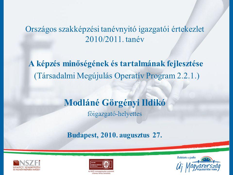 Országos szakképzési tanévnyitó igazgatói értekezlet 2010/2011. tanév A képzés minőségének és tartalmának fejlesztése (Társadalmi Megújulás Operatív P