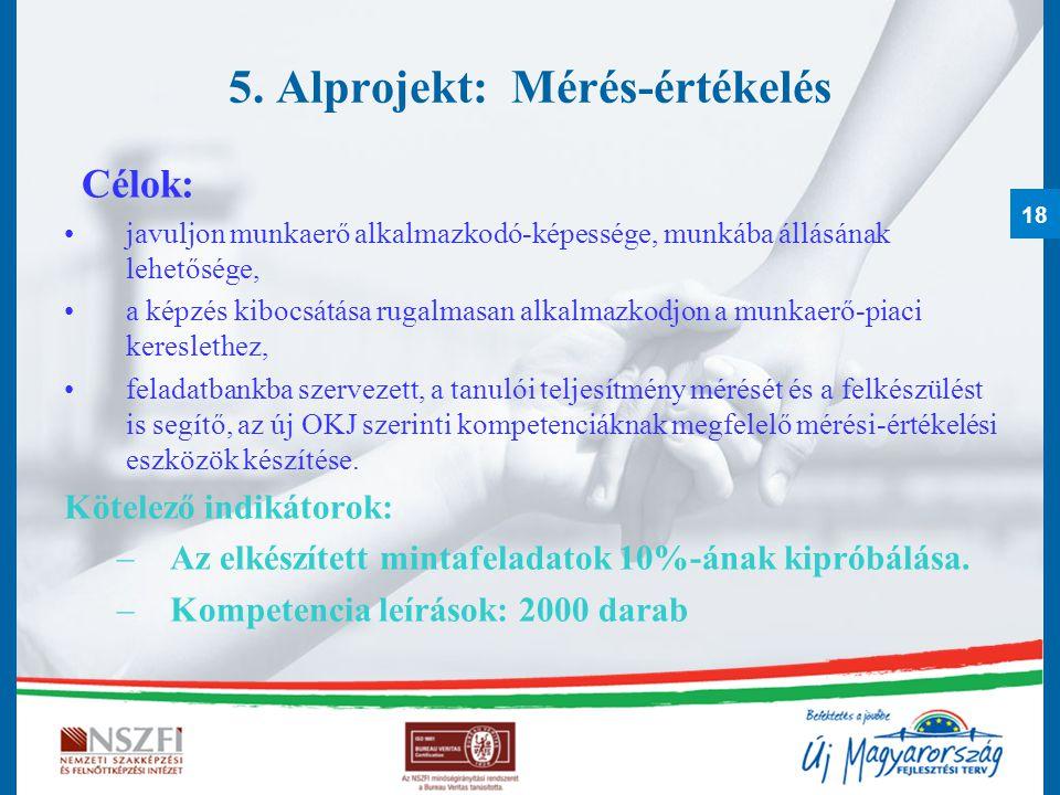 18 5. Alprojekt: Mérés-értékelés Célok: javuljon munkaerő alkalmazkodó-képessége, munkába állásának lehetősége, a képzés kibocsátása rugalmasan alkalm