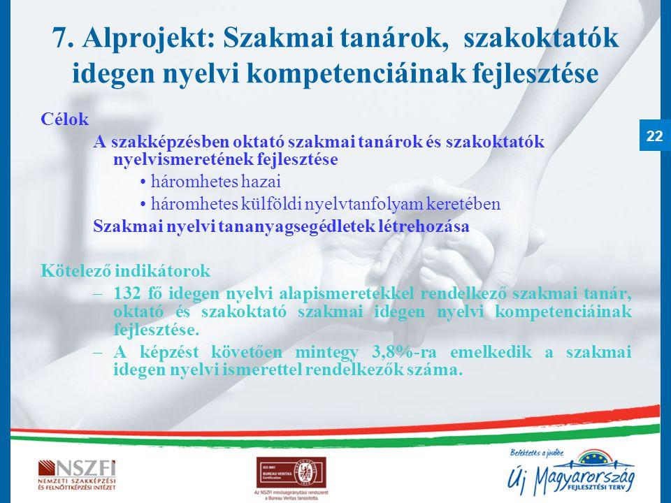 22 7. Alprojekt: Szakmai tanárok, szakoktatók idegen nyelvi kompetenciáinak fejlesztése Célok A szakképzésben oktató szakmai tanárok és szakoktatók ny