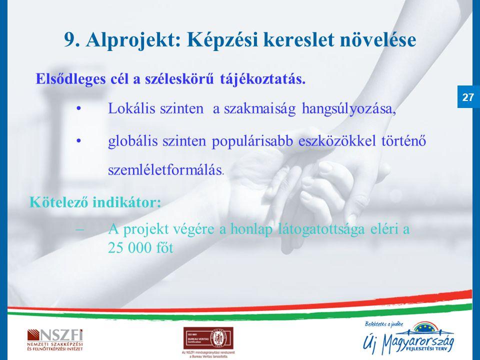 27 9. Alprojekt: Képzési kereslet növelése Elsődleges cél a széleskörű tájékoztatás. Lokális szinten a szakmaiság hangsúlyozása, globális szinten popu