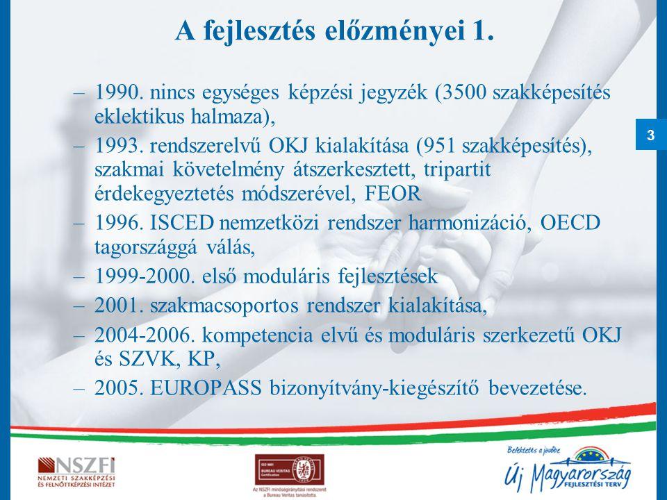 3 A fejlesztés előzményei 1. –1990. nincs egységes képzési jegyzék (3500 szakképesítés eklektikus halmaza), –1993. rendszerelvű OKJ kialakítása (951 s