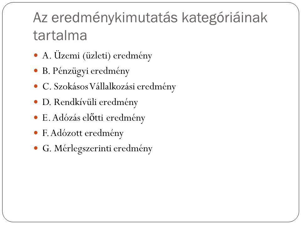 Az eredménykimutatás kategóriáinak tartalma A. Üzemi (üzleti) eredmény B. Pénzügyi eredmény C. Szokásos Vállalkozási eredmény D. Rendkívüli eredmény E