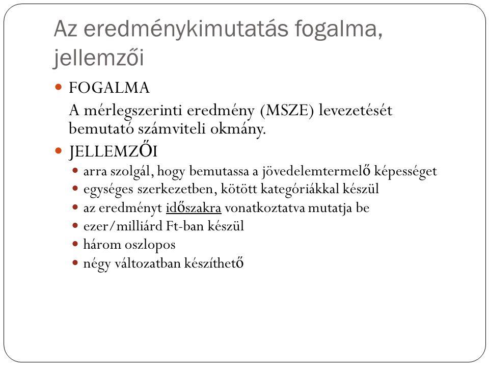 Az eredménykimutatás fogalma, jellemzői FOGALMA A mérlegszerinti eredmény (MSZE) levezetését bemutató számviteli okmány. JELLEMZ Ő I arra szolgál, hog