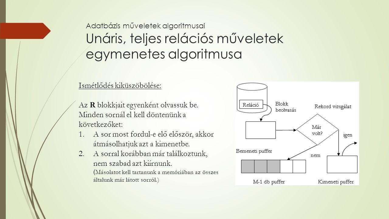 Adatbázis műveletek algoritmusai Unáris, teljes relációs műveletek egymenetes algoritmusa Ismétlődés kiküszöbölése: Az R blokkjait egyenként olvassuk